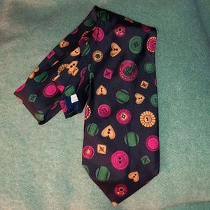 Moschino Italy buttons print SILK tie